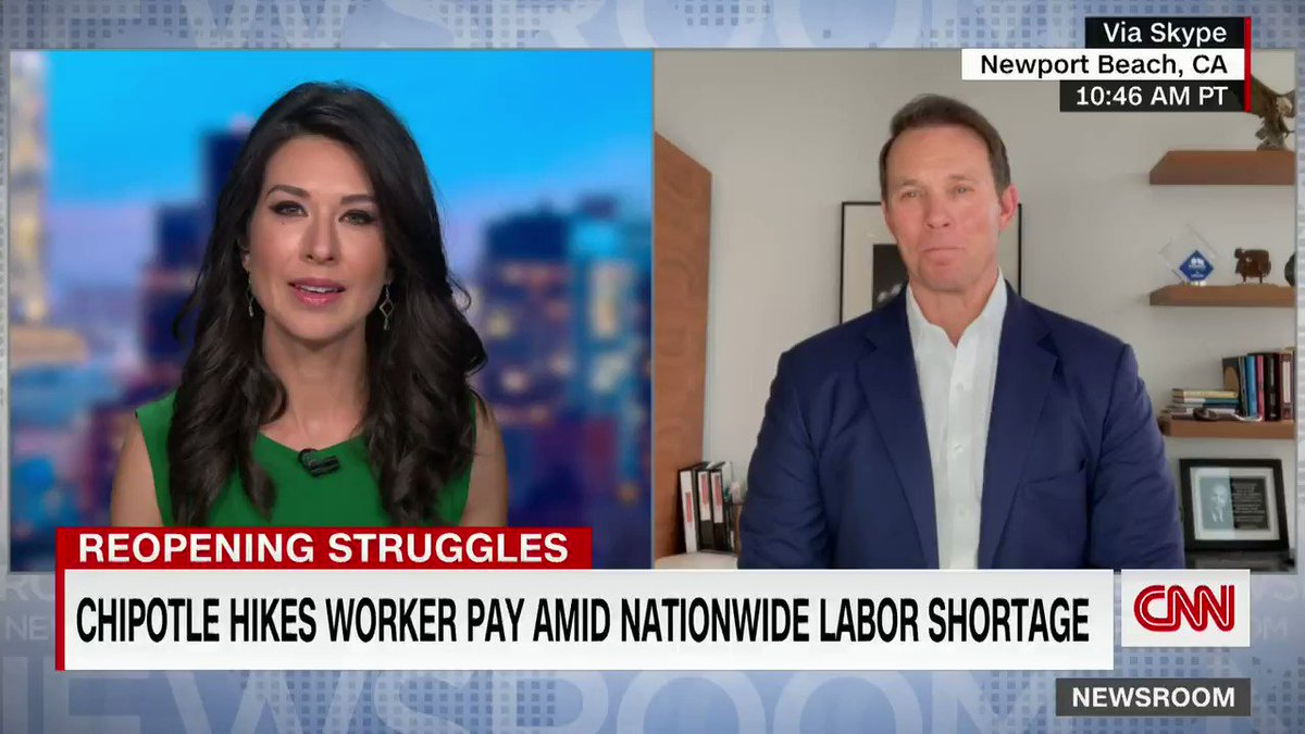Chipotle has announced it is increasing the pay of its restaurant workers to an average of $15 per hour. CNN's @AnaCabrera discusses the decision with Chipotle's Chief Restaurant Officer Scott Boatwright. https://t.co/I0OdJ1wVly https://t.co/c8B8958eaL