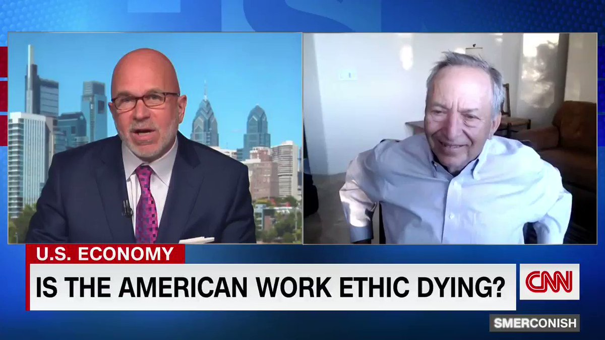 """""""I don't think the Americanwork ethic is dying,"""" former Treasury Secretary Lawrence Summers tells @smerconish.  """"We are making a mistakein the generosity of thebenefits that we're providing... that iscreating needless laborshortages and contributing toinflation pressure."""""""
