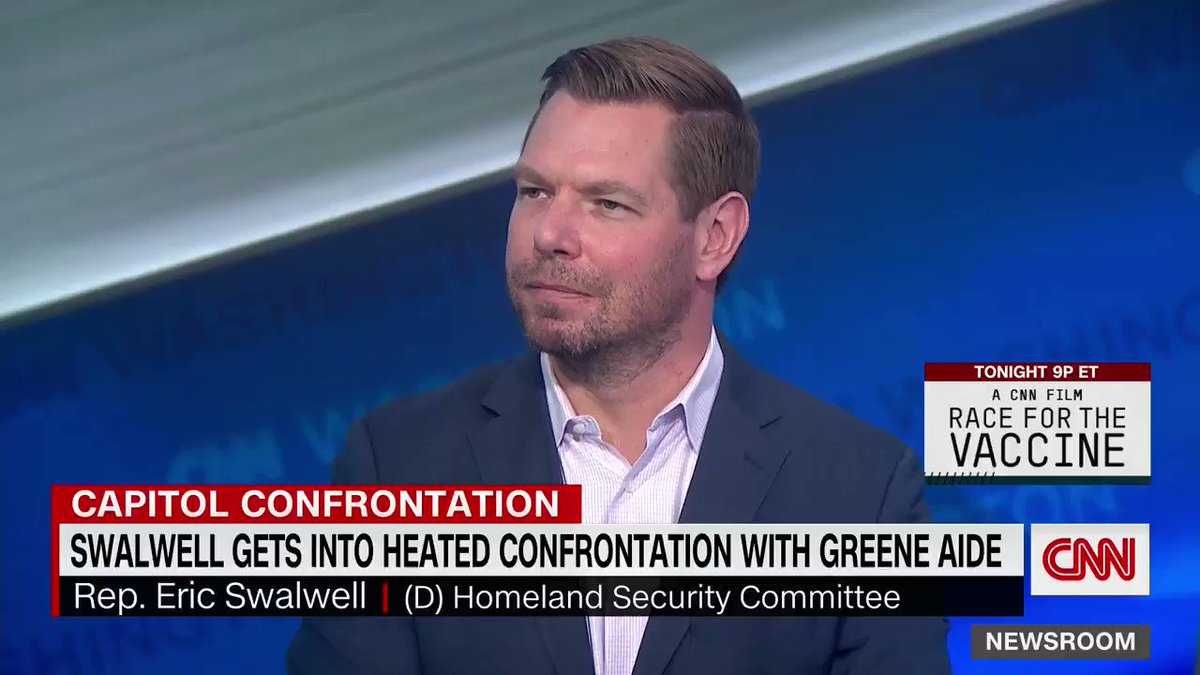 """""""Disgraceful"""": Democratic Rep. Eric Swalwell reacts to GOP Rep. Andrew Clyde comparing the Capitol riot to a """"normal tourist visit."""""""