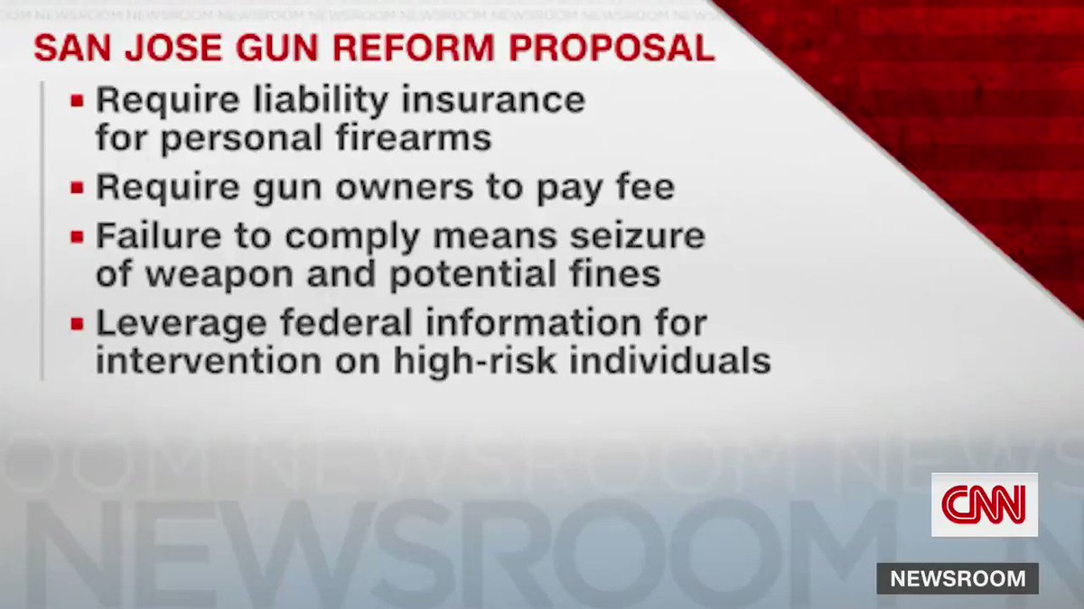 """San Jose Mayor Sam Liccardo is proposing that gun owners in the city obtain insurance and pay an annual fee to help cover the cost of gun violence.  """"The Second Amendment protects everyone's right to own a gun; it does not require taxpayers subsidize that ownership."""" https://t.co/fFn1jiLlxc"""