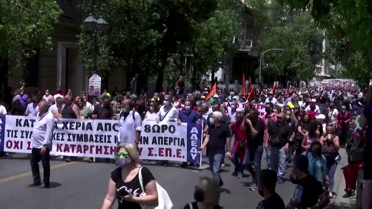 Thousands of Greeks took to the streets of Athens protesting a new labor bill that has caused months of unrest. Critics see it as a plot to introduce longer working hours https://t.co/svzihyoXKh https://t.co/9VTMqzT4q9
