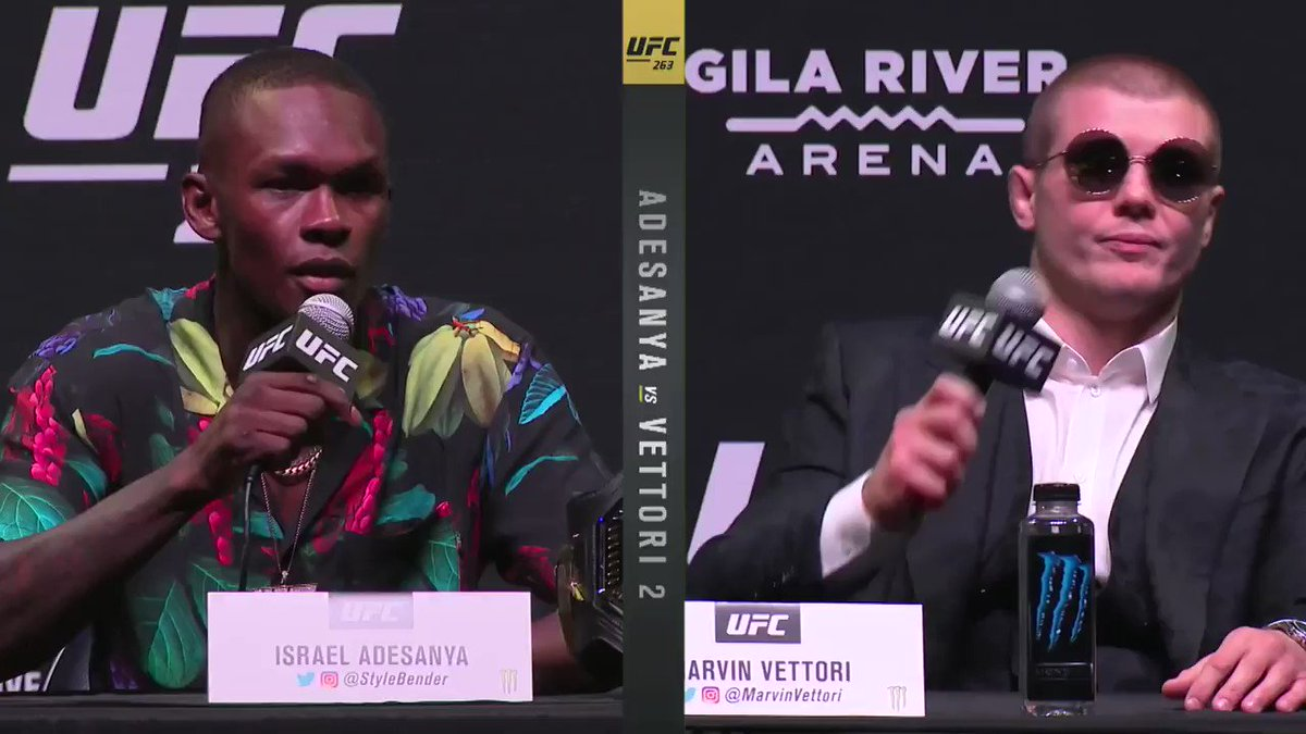Fair to say the presser lived up to its hype 🍿👀 #UFC263   [ @Stylebender | @MarvinVettori ] https://t.co/QHxYiMMjmP