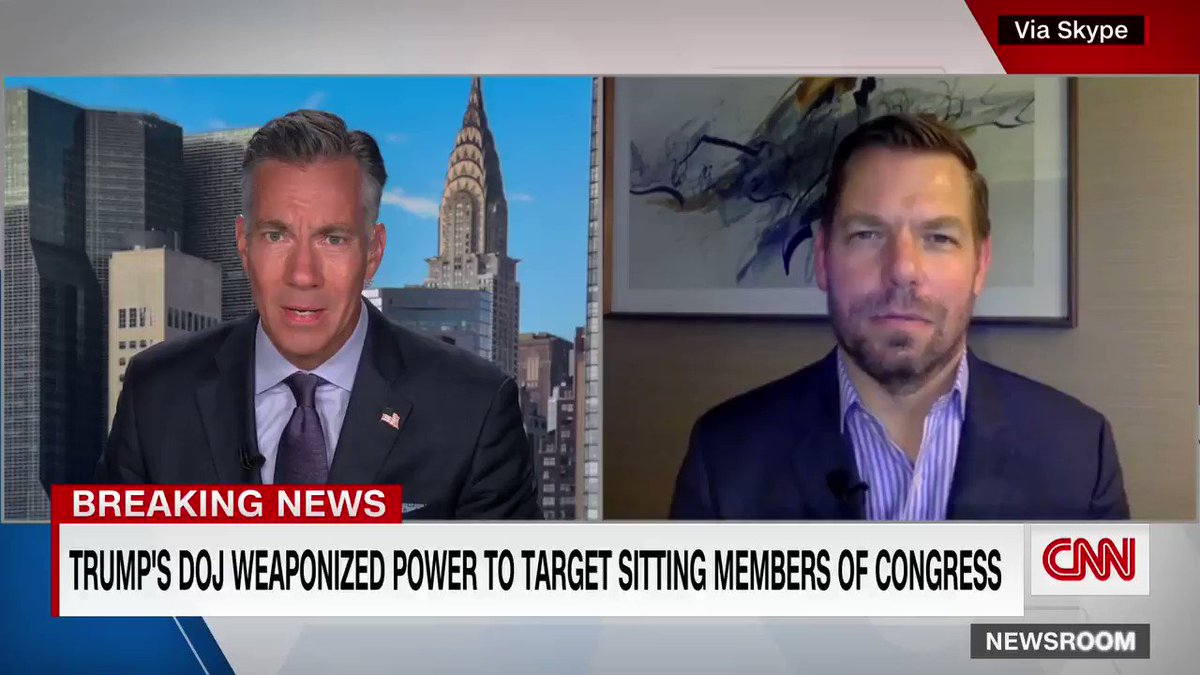 """The Trump DOJ subpoenaed Apple for data from the accounts of House Intelligence Committee Democrats, sources say.  Rep. Eric Swalwell said he was targeted, telling @jimsciutto that Trump """"weaponized the Justice Department."""" https://t.co/RI03avztmy https://t.co/MIjxI1WzWr"""