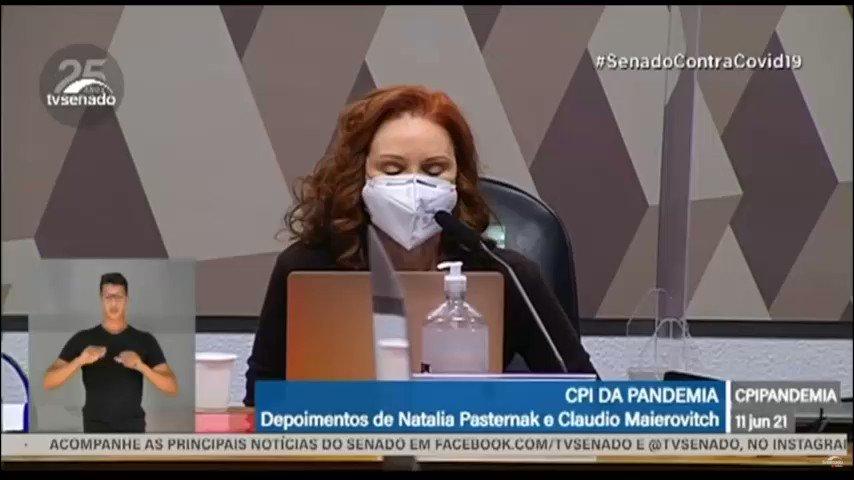 """Utilidade pública!  A Cientista @TaschnerNatalia trouxe à CPI uma linha do tempo perfeita sobre como foi divulgado o """"tratamento precoce"""" no Brasil e como os negacionistas se utilizam de um estudo já desconsiderado na ciência p/ espalhar mentiras na sociedade. Assista! 👇🏼 https://t.co/Wc5inz81Cj"""
