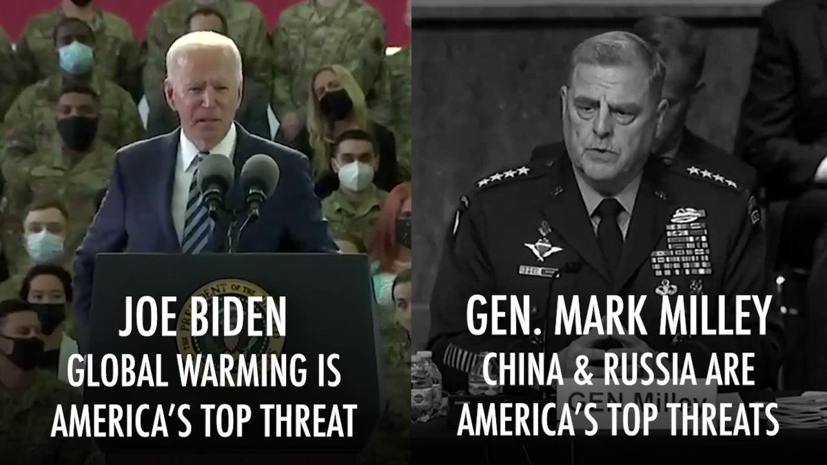 """On Wednesday, Biden claimed military leaders said """"global warming"""" is America's top threat.   Yesterday, the top military leader said it's China, then Russia. https://t.co/K3j1r3J669"""