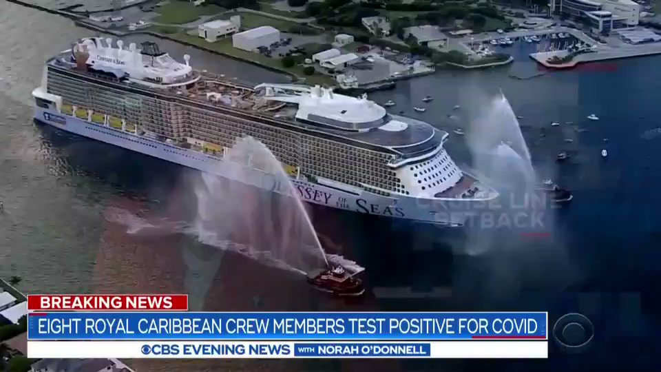 """Eight members of Royal Caribbean's """"Odyssey of the Seas"""" crew have tested positive for COVID-19, delaying the cruise meant to be the company's triumphant return to American shores.  All 1,400 crew members will now have to quarantine for two weeks, the cruise line says. https://t.co/lWZf9GOmj9"""