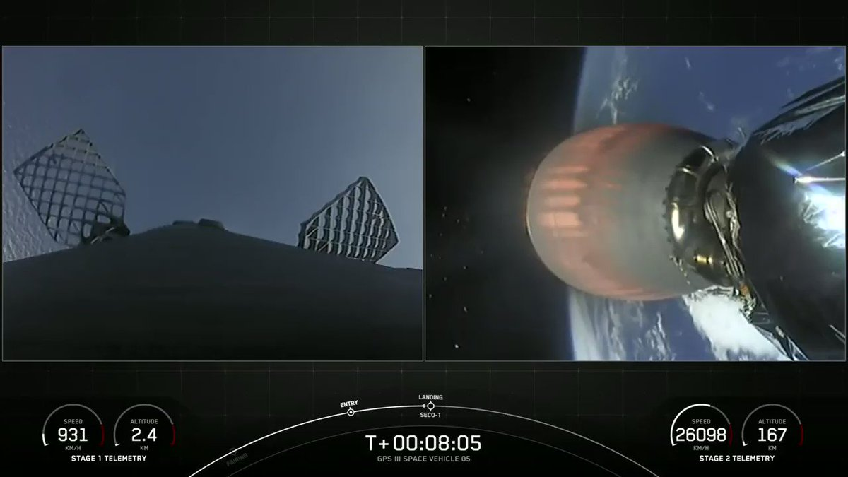 Falcon 9's first stage has landed on the Just Read the Instructions droneship, completing this booster's second GPS III flight https://t.co/7WDueMj5VJ