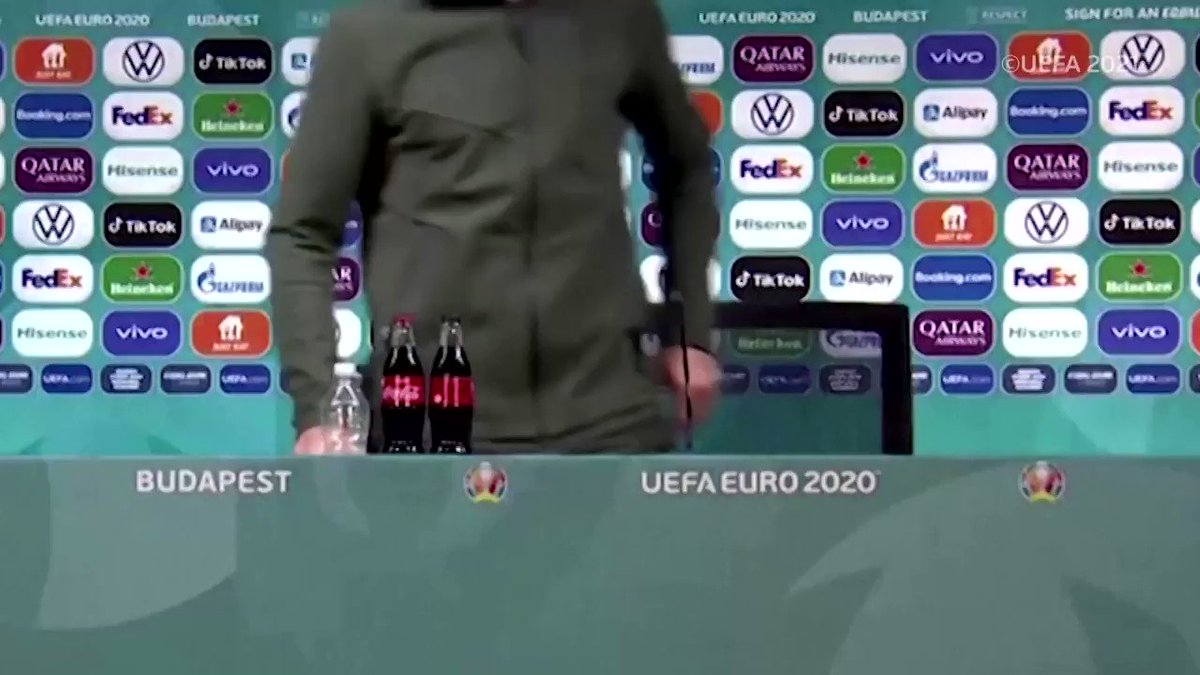 WATCH: At #Euro2020, while some players set aside bottles, others embrace the sponsors https://t.co/FKvZwXkiyp https://t.co/pYXXZd2dpk