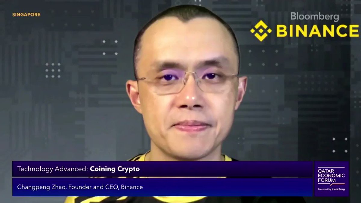 """""""I think @elonmusk wants to be a humorous guy ... but he has to realize that his tweets do have the power to move markets,"""" says Changpeng Zhao.  @cz_binance speaks to @tracyalloway at the Qatar Economic Forum. Watch the full video here ▶️ https://t.co/YnJSPOJhDi https://t.co/gttSxCXXfZ"""
