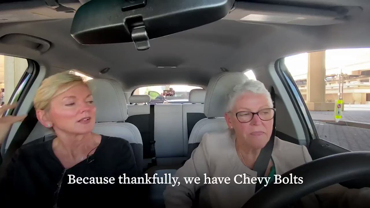 """The White House released a Carpool Karaoke-esque video featuring WH climate adviser Gina McCarthy & Sec. of Energy Jennifer Granholm talking about … the Chevy Bolt?… https://t.co/s3wwdl4R3y"""""""