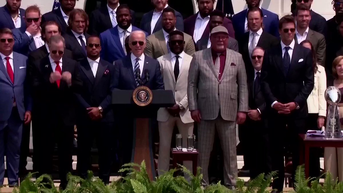 WATCH: Tom Brady joked about Donald Trump's baseless claims of voter fraud and his description of President Joe Biden as 'Sleepy Joe' as he joined the rest of his Tampa Bay Buccaneers at the White House https://t.co/8rTffFxK54 https://t.co/u55DjjRhlx
