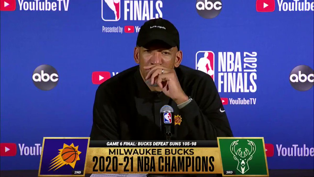 Monty Williams had an emotional press conference and then congratulated the Bucks in their locker room https://t.co/SIWhOowcfm