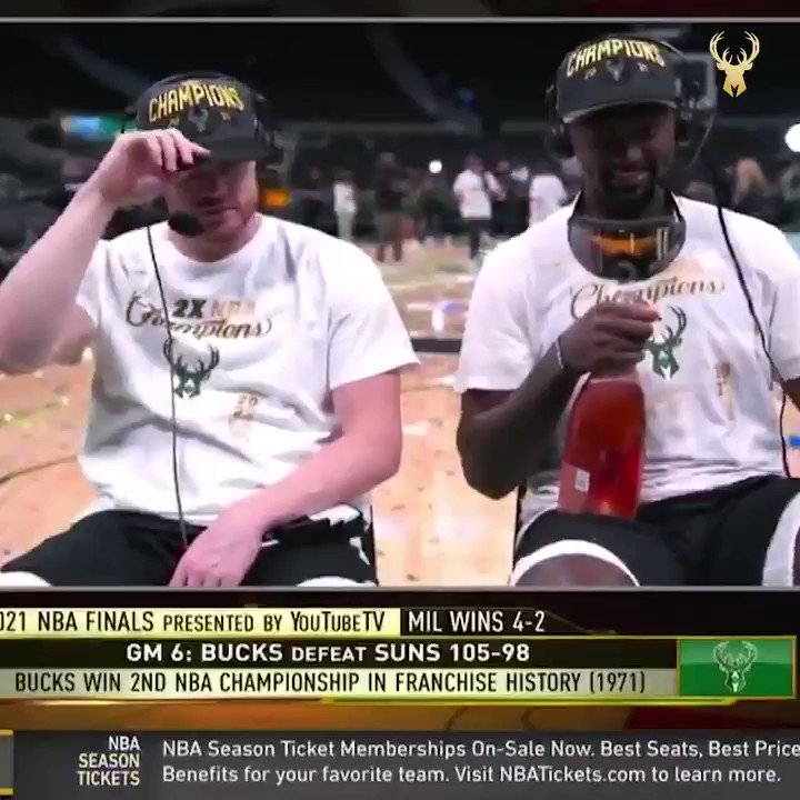 """""""How much champagne have each of you consumed?""""  Bobby Portis and Pat had the perfect answer 😂  (via @Bucks)  https://t.co/KR0m6Nu5bU"""
