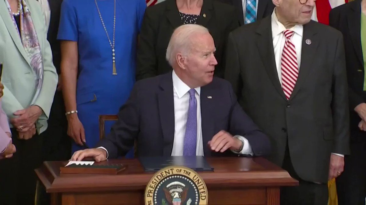 WATCH: President Biden shared a moment of laughter with the lawmakers as he ran out of ceremonial pens at bill signing https://t.co/r8gqiPeOfm