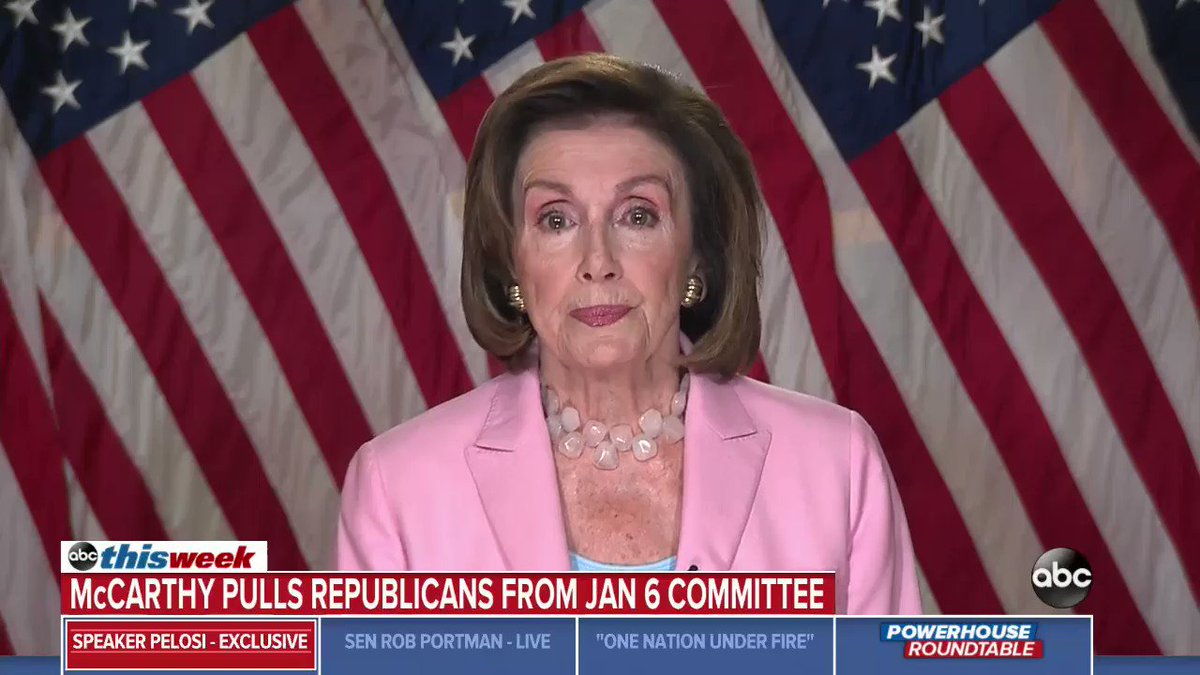 """When asked by @GStephanopoulos whether her decision to veto two Republicans from Jan. 6 select committee could fuel more division in the country, @SpeakerPelosi says: """"Maybe the Republicans can't handle the truth, but we have a responsibility to seek it.""""  https://t.co/jcVvXOzoSx https://t.co/fJ60twbmoE"""