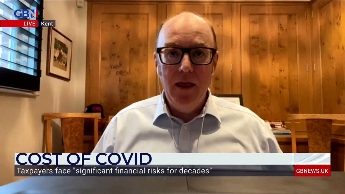 'This will affect the economy as a whole.'  Gerard Lyons, former Chief Economic Adviser to Boris Johnson, says debt levels caused by Covid will create a significant burden for taxpayers.  Watch GB News on Sky 515. https://t.co/nw59S9sEmu