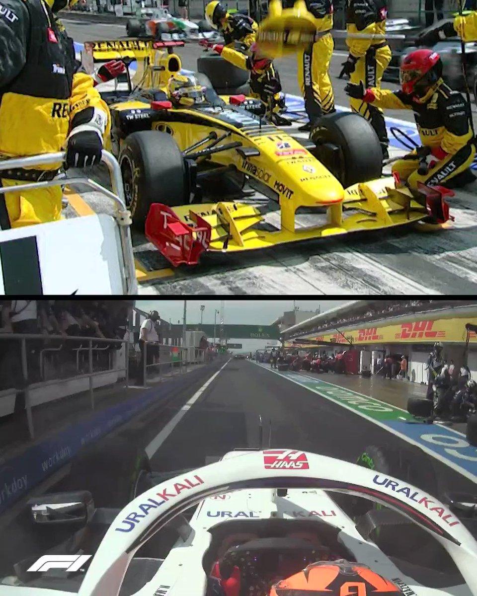 We thought we'd seen Kimi Raikkonen and Nikita Mazepin's pit lane clash somewhere before 👀  #HungarianGP 🇭🇺 #F1