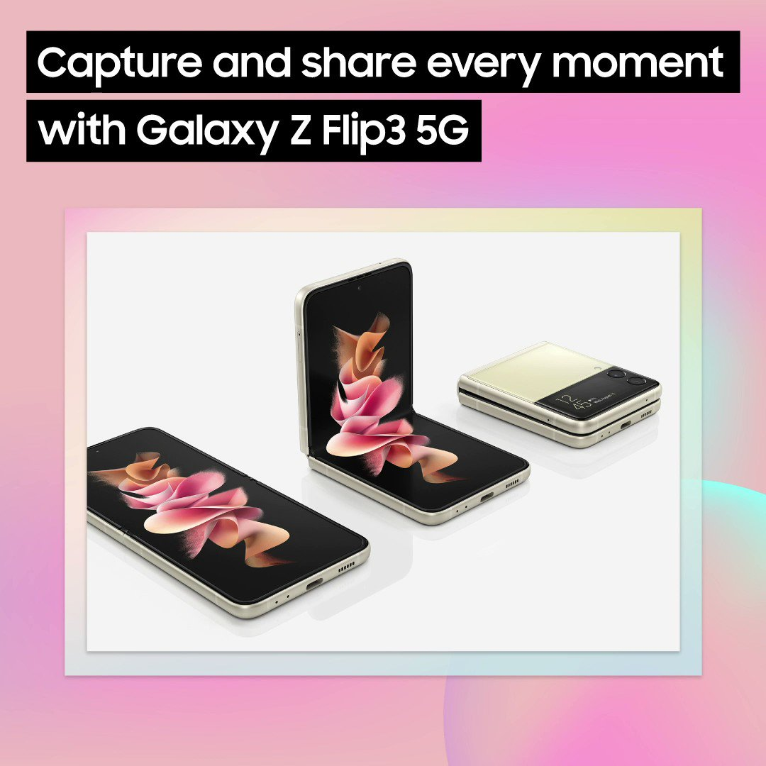 Thanks to its abundance of camera features, #GalaxyZFlip3 5G lets you capture dynamic content for social media, hassle-free. Learn more: https://t.co/rFk70ez5Q7 https://t.co/U904cgelMo