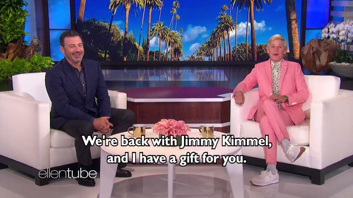 Tomorrow, on my last first show, my friend @JimmyKimmel surprises me with the traditional gift for 19 years. #EllensFinalSeason https://t.co/ZU7BCmUgdE