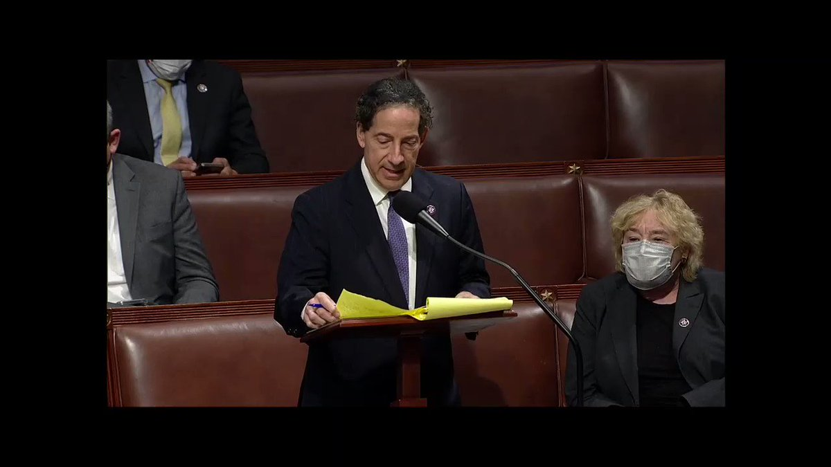 """""""We are investigating the attack on American democracy because we are Americans. We are investigating the attack on Congress by domestic enemies of our Constitution, because we are sworn to do so by our oaths of office."""" - @RepRaskin"""