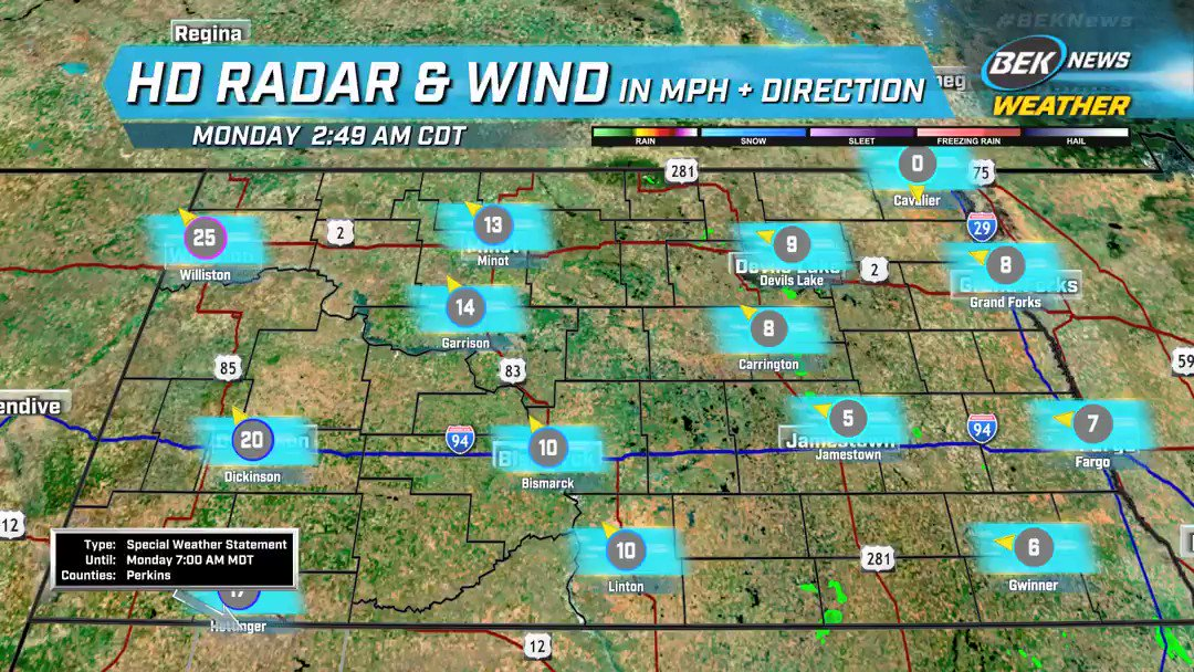 Windy conditions are occurring in our area.  How long will the wind remain? Search your app store for the free BEK Weather App for the latest conditions, radar and hourly/daily forecast.  Download it now! #BEKNews #BEKWeather #BEK #NDWX #Wind