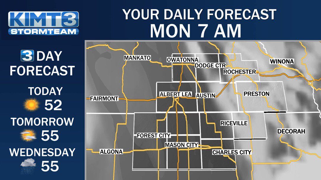 Good morning! Here's a check of the forecast across the area today! #MNwx #IAwx
