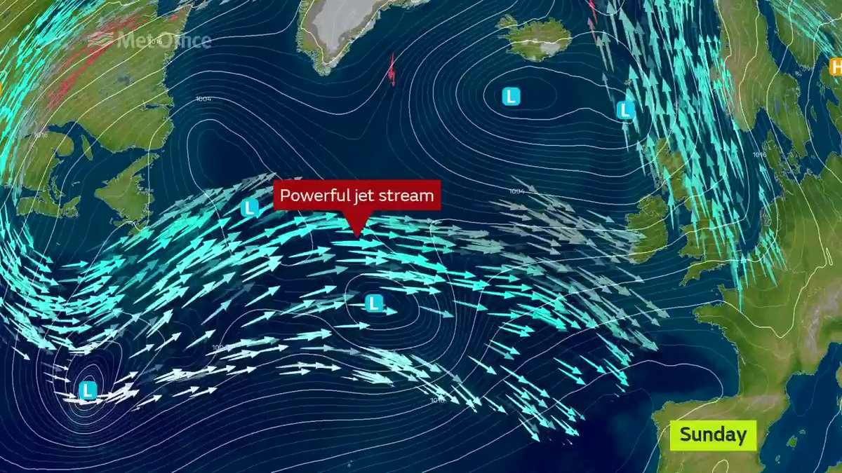 """The Met Office tweeted: """"The unsettled weather is thanks to the jet stream. It will be powerful this week, bringing deep areas of low pressure towards the UK."""""""