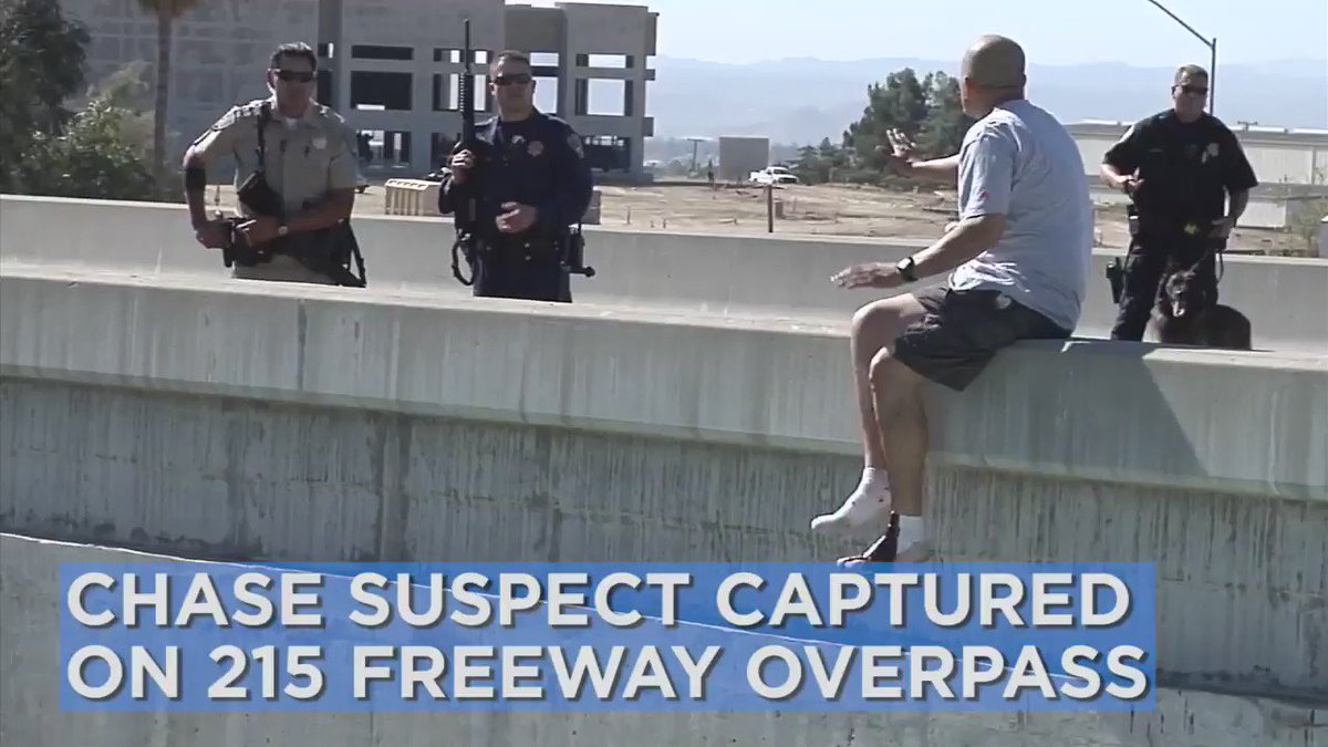 Police pull chase suspect from edge of freeway overpass