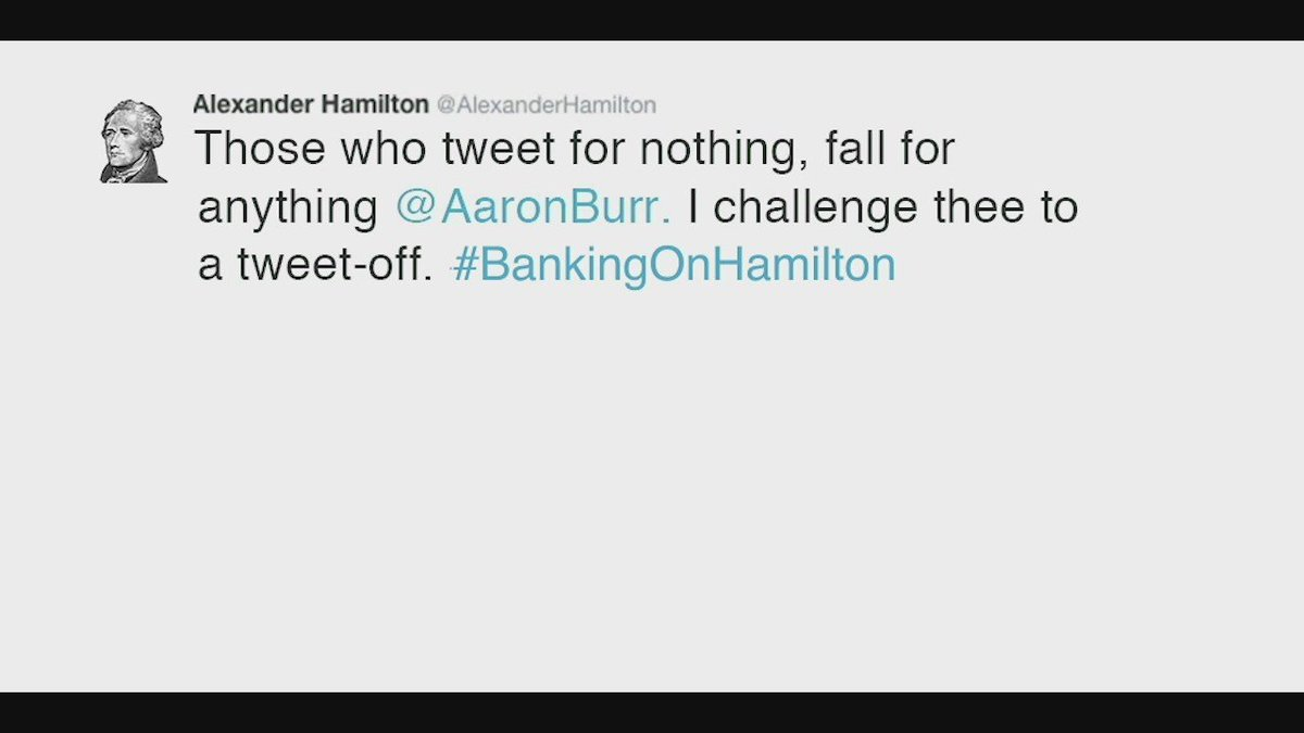 If twitter duels were the answer in my day, I'd be trending before my 2nd tweet! —A.Hamilton #HamilDocPBS https://t.co/LWf5uGQUWU