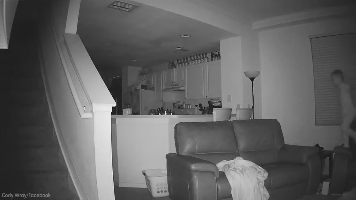 Home security camera captures boy's late night couch jumping