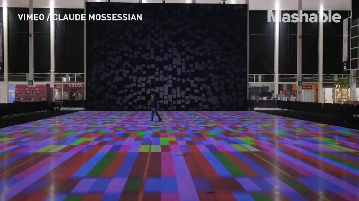 This psychedelic floor changes colors and patterns as you walk on it