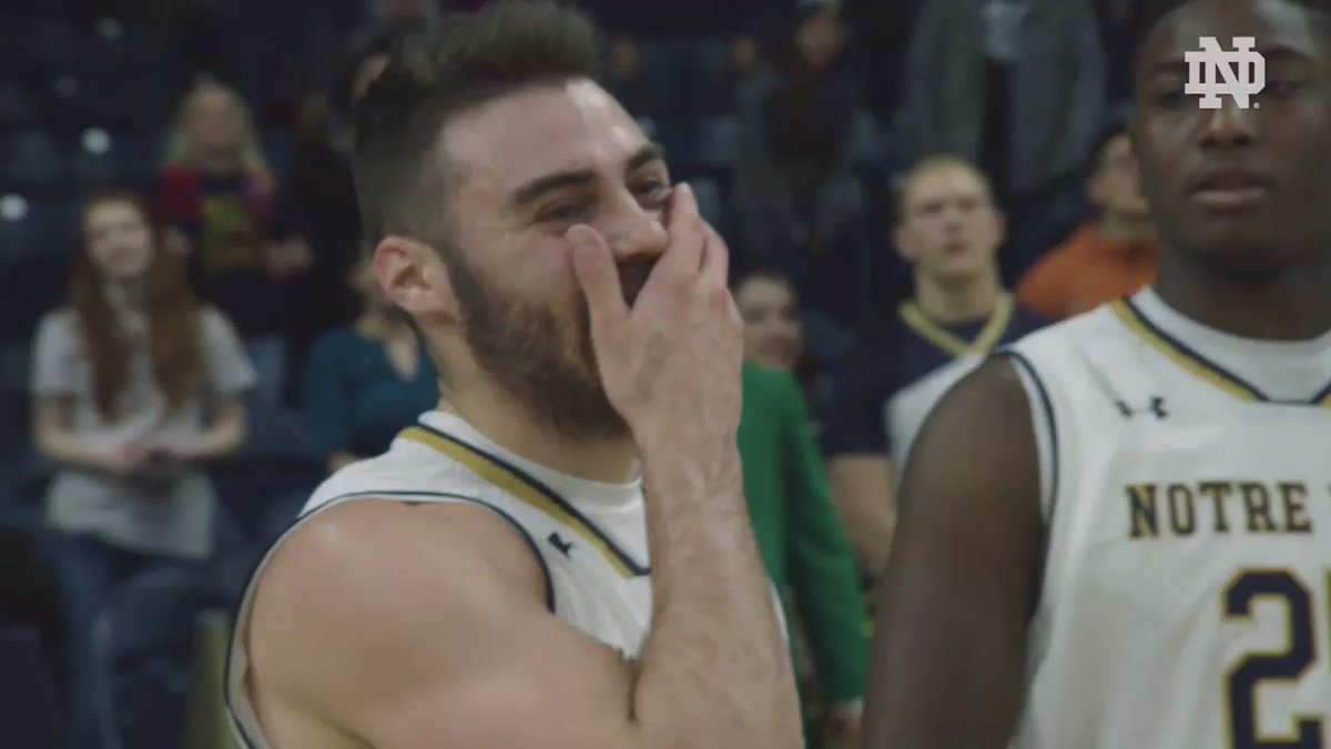 All the feels. 🙏  Notre Dame's Matt Farrell gets surprised by his brother's early return from Afghanistan.   #NDxBR
