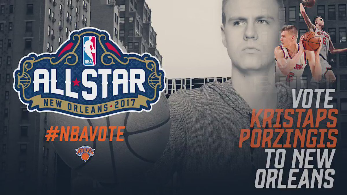 He's baaaaack.   RT to vote for @kporzee! #NBAVote #NYKtoNOLA https://t.co/chrVTebEKl