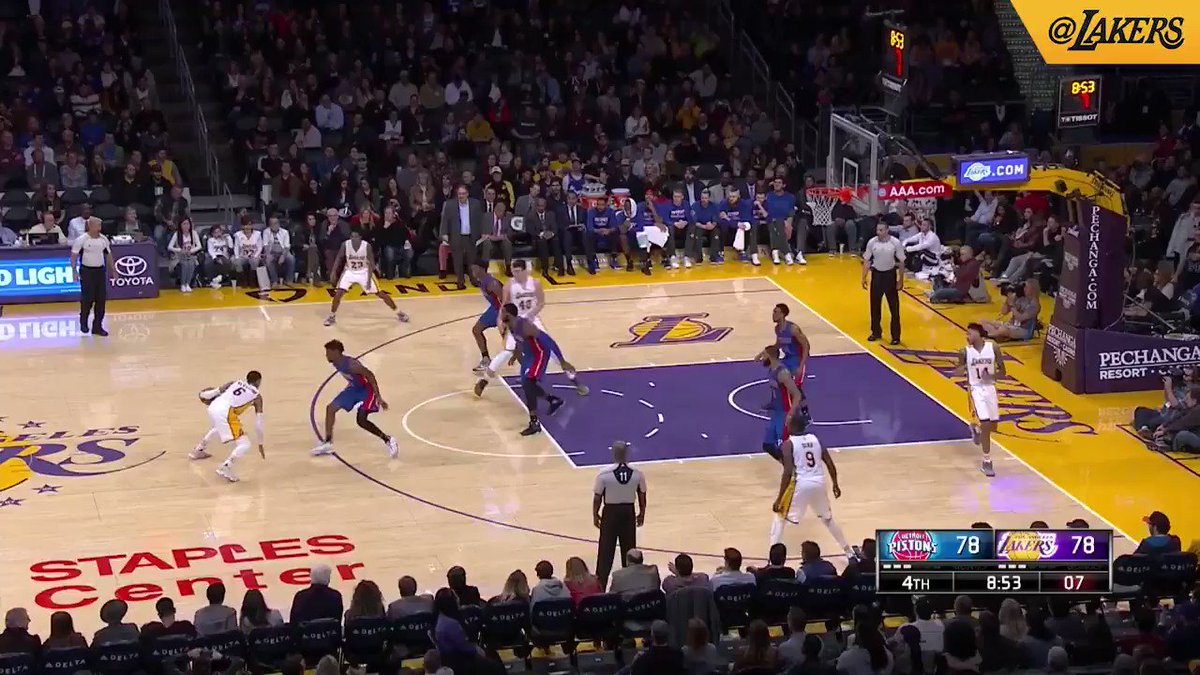 Lou Williams pulls up for the deep three #LakeShow  (📺: @SpectrumSN /...