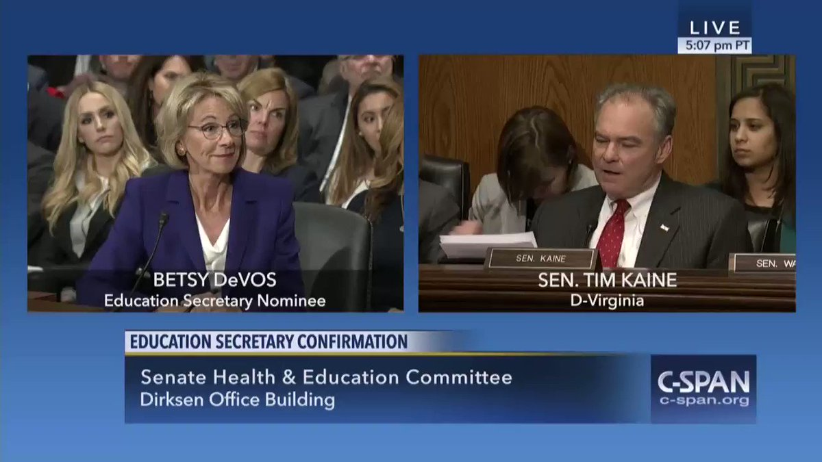 Betsy DeVos fails @timkaine's test at Senate hearing: https://t.co/qnyFZgc52X