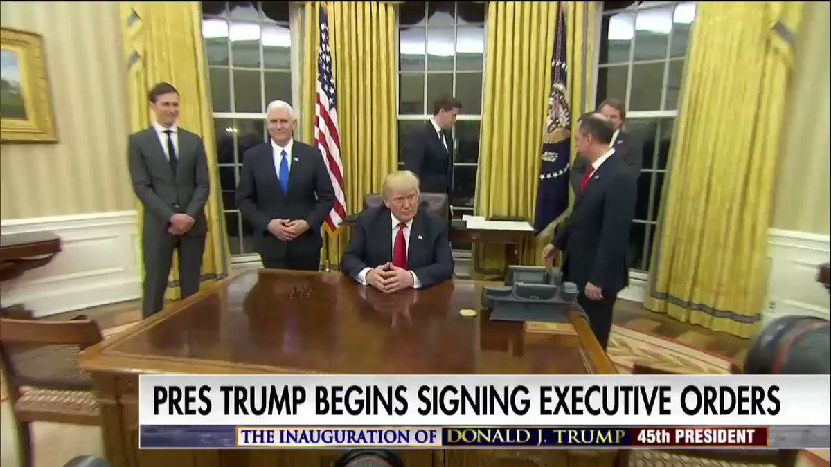 New Video: @POTUS begins signing executive orders: https://t.co/9UIia89RP2 #First100 #Trump45 #inauguration