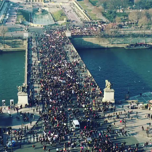 View from The Eiffel Tower of the 'Women's March' in Paris, France. Credit: @nature_seen