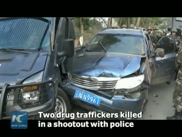 Two #drug traffickers die in a #shootout with police in SW China's Yunnan Province. 330 kg of drugs were seized