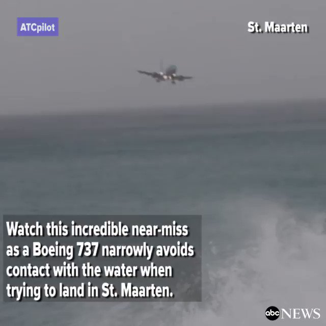 Video catches Boeing 737 narrowly avoid contact with the water while trying to land in St. Maarten. http://abcn.ws/2n71lZy