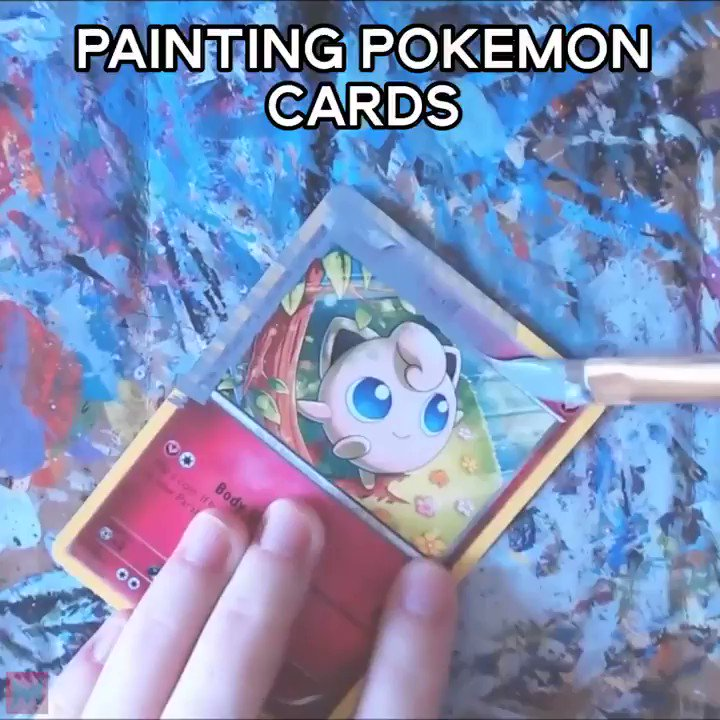 She paints over Pokemon cards 👏👏👏