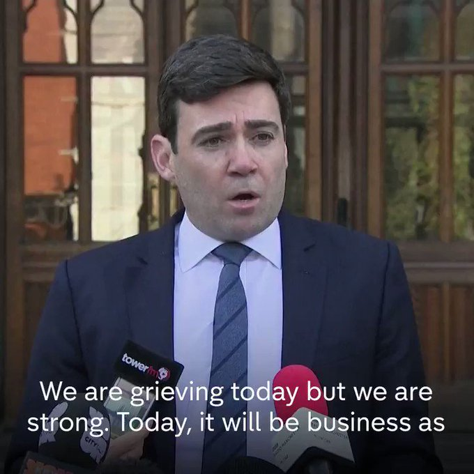 Mayor @AndyBurnhamGM speaks after the Manchester Arena attack, which has killed 22 people and injured 59.