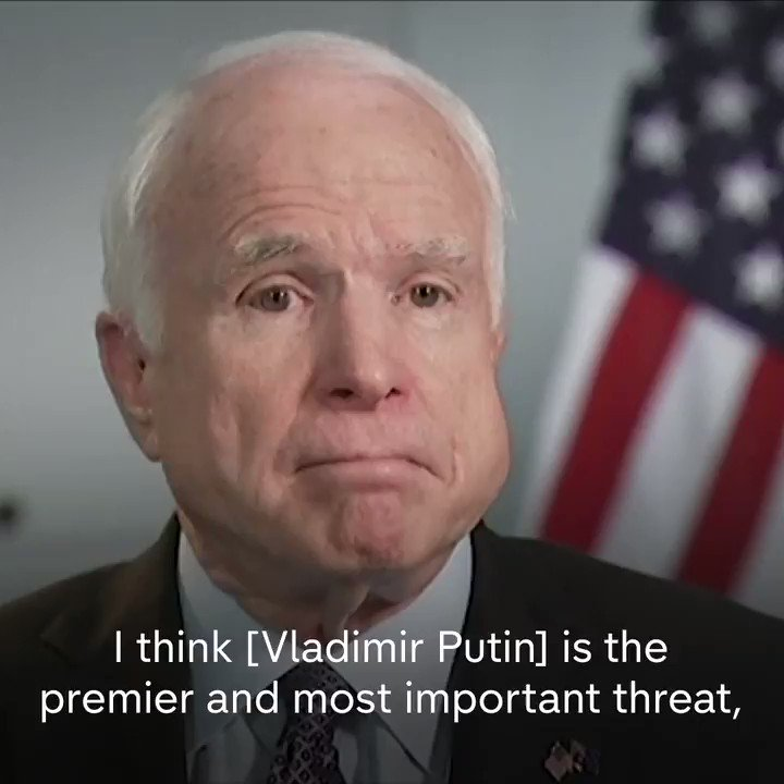 """.@SenJohnMcCain says Putin is the 'most important threat - more so than ISIS."""""""