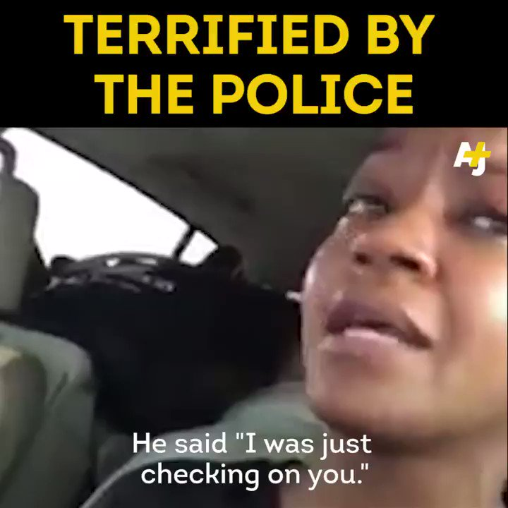 This black woman got so scared when a police officer stopped her car that she broke down in tears.