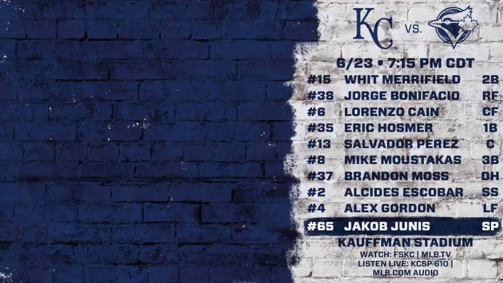 The #Royals welcome the Blue Jays to town as Jakob Junis gets the ball...