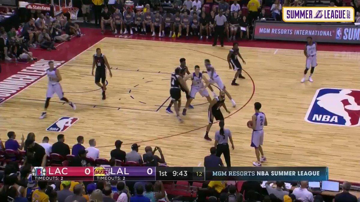 Lonzo kicks off #LakersSummer with a big-time pass to BI (📺: @SpectrumSN & ESPN)