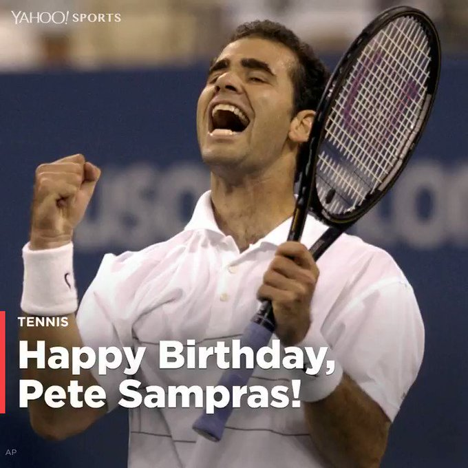 """ Happy 46th Birthday, Pete Sampras! Here\s a look back at his amazing tennis career:  \"""