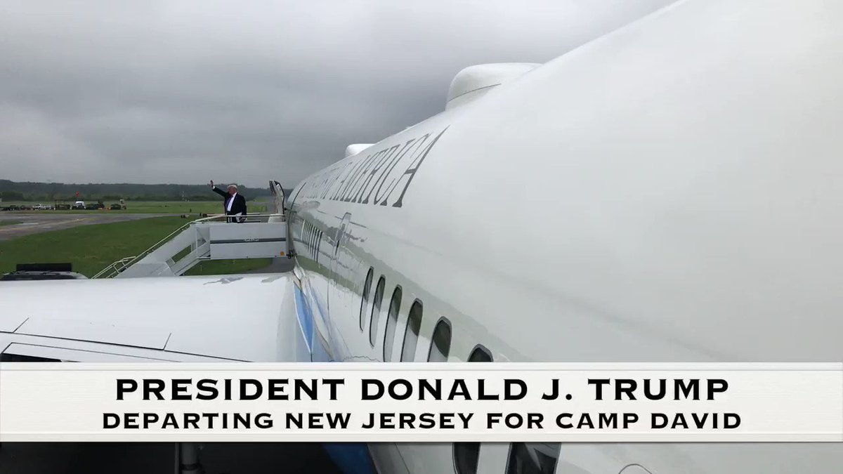 Just returned to Bedminster, NJ from Camp David. GREAT meeting on National Security, the Border and the Military! #MAGA🇺🇸
