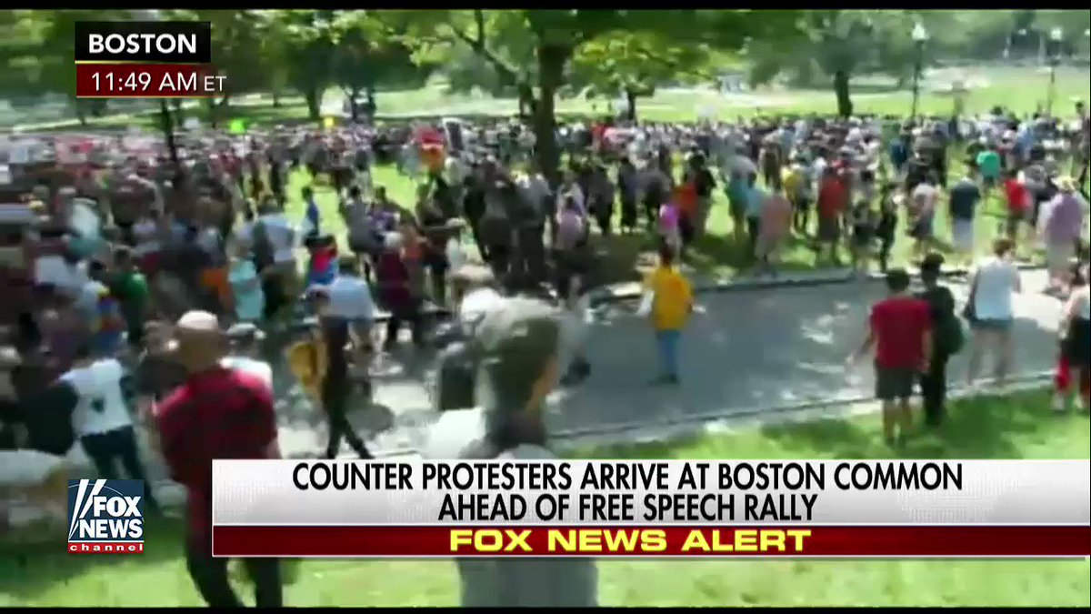 Counter protesters arrive at #FreeSpeechRally in #Boston https://t.co/...