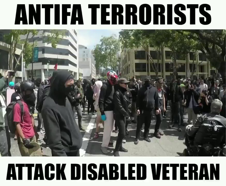 What kind of sub-humans would try to bully a man in a wheelchair?  Antifa.  Of course it's Antifa. https://t.co/z5mvRVvB4g