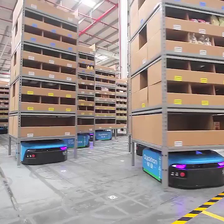 How did Alibaba sell $25 billion of products in one day?  Take a look inside Alibabas smart warehouse, where robots do 70% of the work, with 300% more efficiency